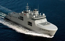 Rendering of the Harry DeWolf-class vessel – Aerial view starboard side forward at sea.