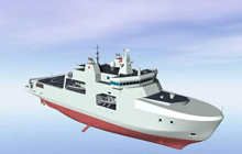 Artist rendering of the definition design for Arctic/Offshore Patrol Ships - View forward starboard side.
