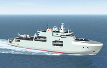 Artist rendering of the definition design for Arctic/Offshore Patrol Ships - View forward starboard side at sea.