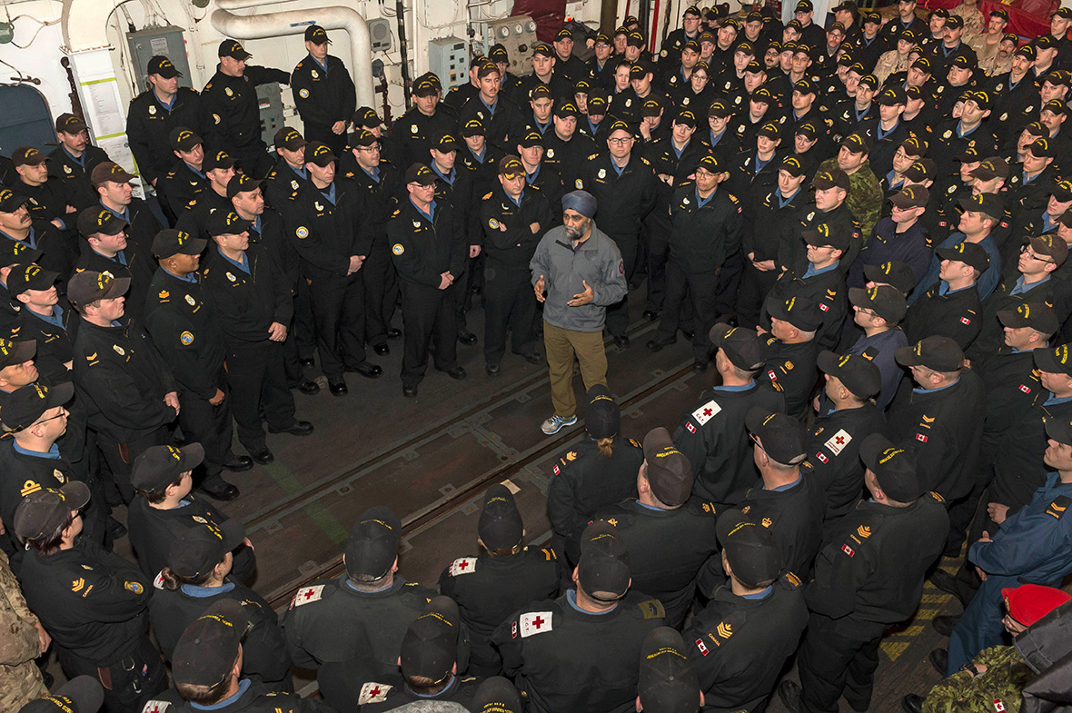 Defence Minister Harjit S Sajjan speaks to the crew of Her Majesty s ...