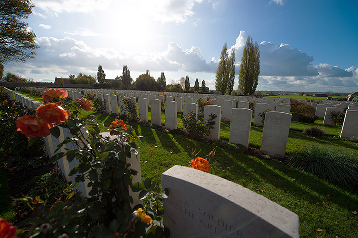 Tyne Cot Memorial Cemetery in Passchendaele, Belgium on November 5, 2017. Photo: Corporal Brandon James Liddy, Canadian Forces Combat Camera IS17-2017-0001-011