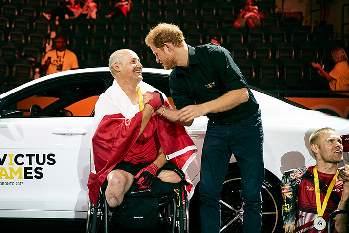 His Royal Highness Prince Harry congratulates Michael Trauner for winning gold in the Men's Indoor Rowing, IR1 Four Minute Endurance event at the Mattamy Athletic Centre Toronto on September 26, 2017.