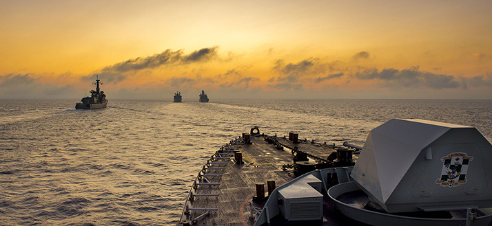 Members of the Standing NATO Maritime Group 1 conduct a replenishment at sea with Federal German Ship Rhön during Operation REASSURANCE on October 5, 2017. Photo: Corporal J.W.S. Houck, Formation Imaging Services RP11-2017-0822-2384