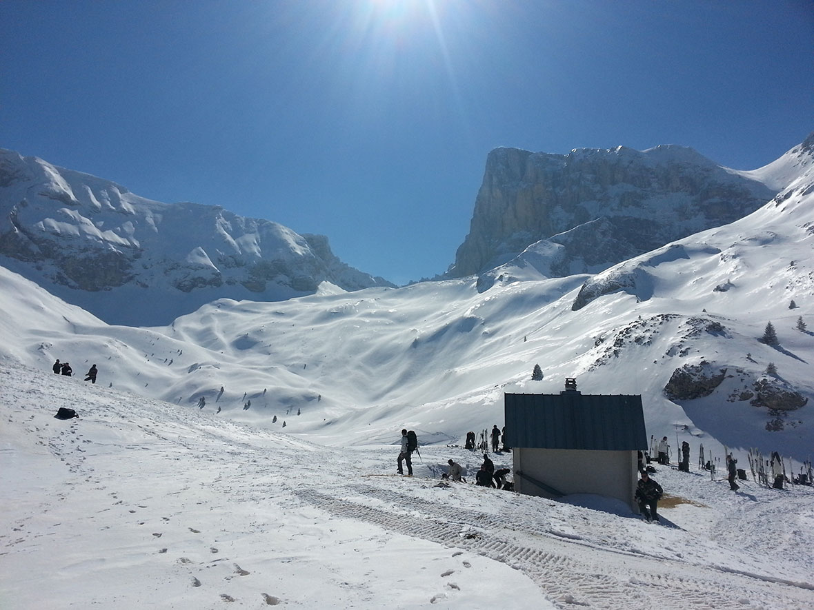 The Pas du Follet, as seen after a 500 metre vertical ascension by D Squadron, 12e Régiment Blindé du Canada.  Members of 12e Régiment Blindé du Canada are training with members of the French Army's 4e Régiment de Chasseurs in the Alps.