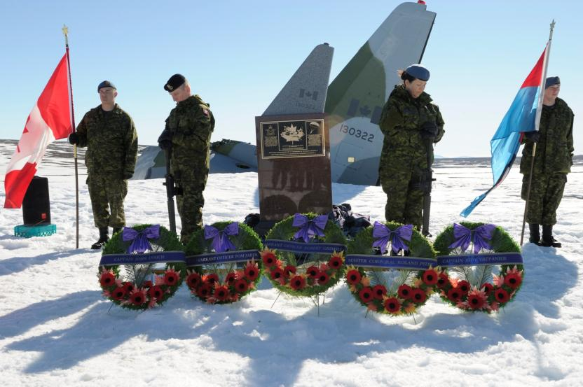 Corporal Brett Guitard (left), Leading Seaman Garnet Robinson, Corporal Yvette Cedeno, and Aviator Alain Fortier.