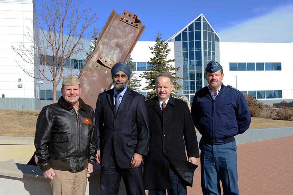 Admiral Bill Gortney, Defence Minister Harjit S. Sajjan, John Forster, Deputy Minister of National Defence, and Canadian Lieutenant-General Pierre  St-Amand.