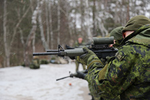 Starychi, Ukraine. 30 December 2015 – Canadian soldiers practice their shooting skills during Operation UNIFIER, Canada's military training mission to Ukraine, at the International Peacekeeping and Security Centre (IPSC). (Photo: Joint Task Force Ukraine, DND)