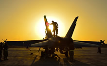 3 November 2014. Kuwait – Royal Canadian Air Force ground crew perform post flight checks on a CF-18 fighter jet in Kuwait after a sortie over Iraq during Operation IMPACT (Photo IS2014-5026-03 by Canadian Forces Combat Camera)